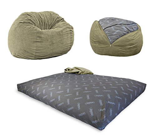 CordaRoy's Chenille Bean Bag Chair, Convertible Chair Folds from Bean Bag to Bed, As Seen on Shark Tank, Moss - Queen Size