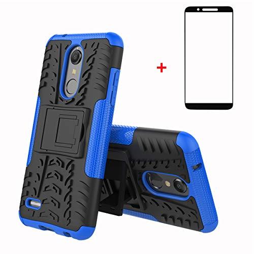 FullProtecter LG K10 2018 Hülle,Bumper Cover Schutz Tasche Handyhülle Schutzhülle Silikon TPU+PC Hardcase für LG K10 2018(Blau)+2 Stück Panzerglas Schutzfolie