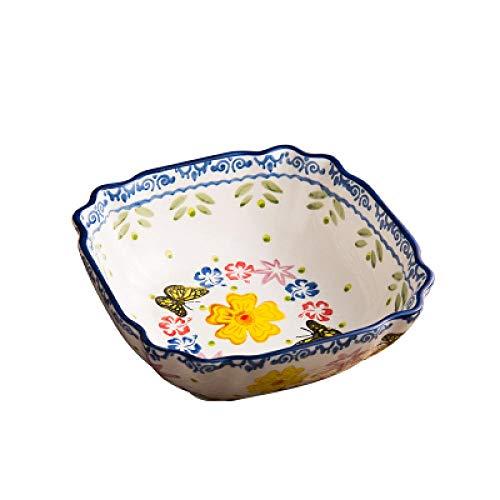Teller Spitzenwelle Im Europäischen Stil Schüssel Suppenschüssel Koreanische Instant-Nudelschale Großer Süßer Salat Original Underglaze Color Technolo