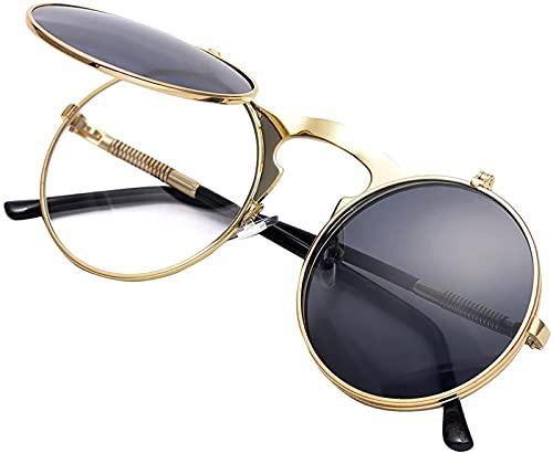 YUIOLIL Gafas de Sol Redondas Vintage con Cadena de Gafas para Hombres, Mujeres, jóvenes, Estilo John Lennon, Gafas de Sol Circulares
