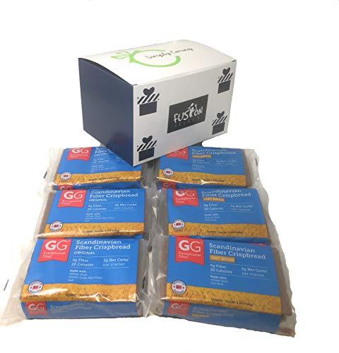 GG Scandinavian Crispbread Thins, Pack of 6 (2 Flavors: Original and Original Oat Bran) in Fusion Select Gift Box
