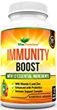 Vitamin C and Zinc Immune Support Complex with Turmeric Curcumin, Ginger, Vitamin B12, Probiotics, Iron, Garlic, Cranberry, Selenium, Rosehip - 30 Easy to Swallow Capsules