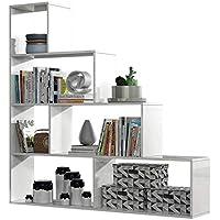 Habitdesign 002255BO Estantería Decorativa, Acabado en Blanco Brillo, Medidas. 145 cm (Largo) x 145 cm (Alto) x 29 cm (Fondo)
