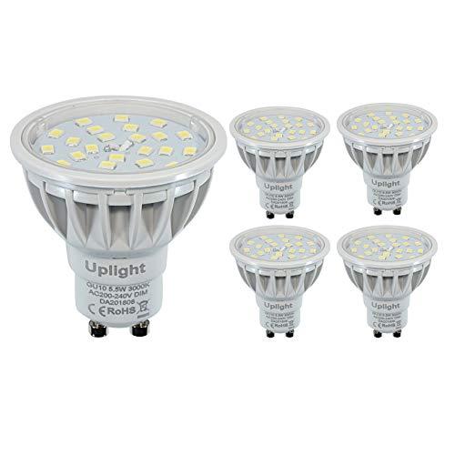 Dimmbar GU10 LED Lampe, Warmweiß 3000K, Ersetzt 60W Halogen lampen,5.5W 600lm LED Leuchtmittel,Ra85,AC230V, 120° Ausstrahlungswinkel,5er Pack.