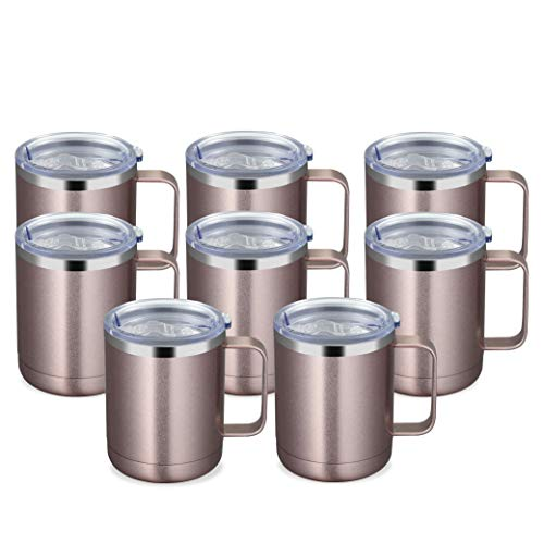 MANYHY 12oz Stainless Steel Coffee Mug with Handle and Sliding Lid, Insulated Travel Cup 8 Pack Bulk, Double Wall Vacuum Thermal Thermos Camping Tumbler for Hot & Cold Tea Drinks (Rose Gold, 8 Pack)