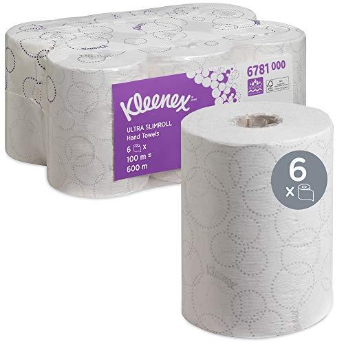 Kleenex 6781 Essuie-mains roulés Ultra Slimroll, 6 rouleaux de 100 m, Feuilles en papier 2 plis, Technologie absorbante Airflex*, Couleur : Blanc, 06781000