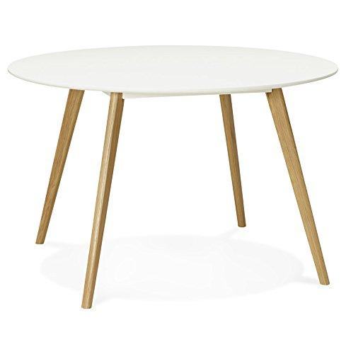 Alterego - Table de Cuisine Ronde 'Amy' Blanche Style scandinave - Ø 120 cm