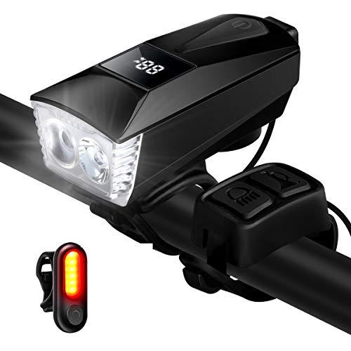 ENONEO Luci Bicicletta USB Ricaricabili LED Luci Bici Anteriore e Posteriore Impermeabile con 4 modalità di Illuminazione e Antifurto Funzione Luce Faro Bicicletta Fanalini per MTB Bici (Nero)