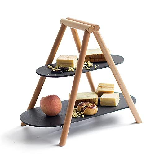 2 niveles de pizarra Sirviendo bandeja de la bandeja del aperitivo Postre la pantalla de la fiesta de la fruta con el soporte de madera