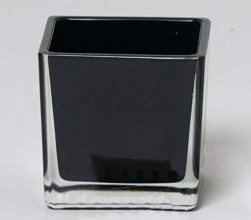 INNA-Glas Tiesto de Cristal Levi, Cuadrado/Cubo, Negra, 12x12x12cm - Macetero - Maceta