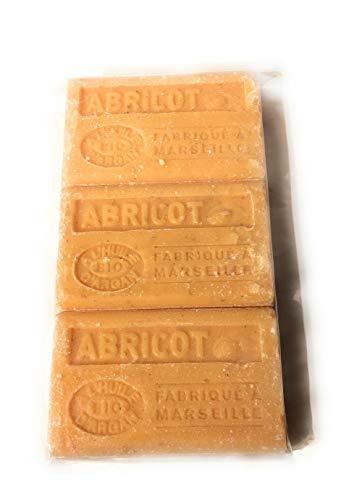 Label Provence - Lot de 3 Savons de Marseille senteur Abricot à l'huile d'argan BIO - 125 gr - Fabriqué à Marseille
