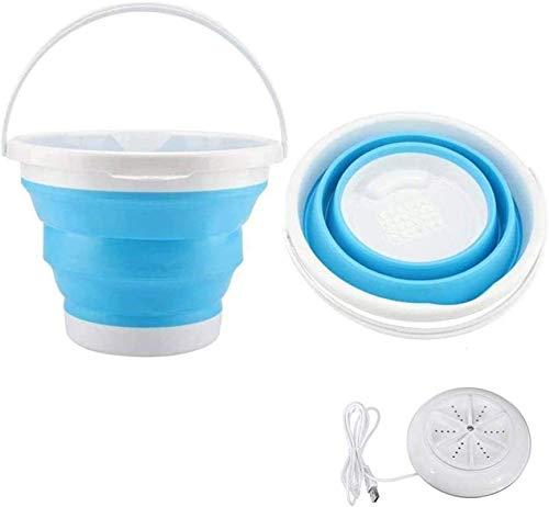 Lavadora portátil Mini Limpieza de Limpieza Plegable, turbina de Lavadora compacta USB, con Cubo Plegable, para dormitorios de Camping al Aire Libre (Color: Azul, Tamaño: Reino Unido)