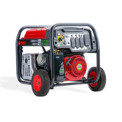 A-iPower SUA12000ED 12,000 Watt Dual Fuel Portable Generator Propane or Gas EPA/CARB, Electric Start...