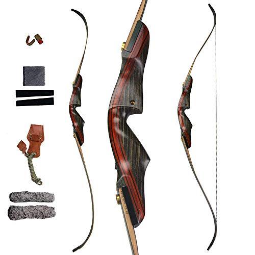 PG1ARCHERY Takedown Recurve Bogen und Pfeil Set 62 Zoll Bogenschießen Jagdbogen für 20-55lbs Traditionell Holzbogen Longbogen mit Carbonpfeile (35lbs)
