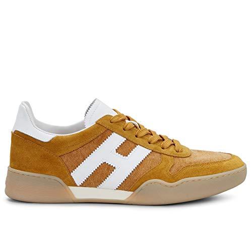 Hogan Herren Sneakers H357 Senf aus Wildleder und Stoff - HXM3570AC40 NKV05CF - Gr., Orange - Arancione - Größe: 42 EU