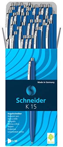 Schneider K15 Druckkugelschreiber (dokumentenechte Mine - Strichstärke M, Schreibfarbe: blau) 50 Stück blau