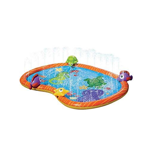 Finoki Spritzpad Kinder, Wasserspielmatte, 140 cm Sommergarten Kinder Wasserspielzeug, Rasen Strand und Unterwasserwelt, Spritzmatte, für Party