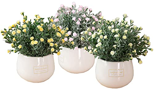 Kugusa フェイク グリーン 鉢植え セット お手軽 卓上 インテリア 人工 観葉植物 花 (カスミソウ 3色)
