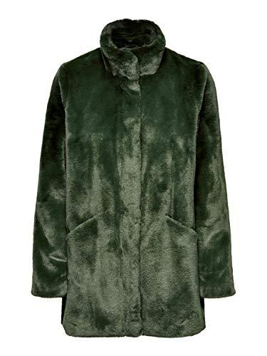 ONLY Damen Kunstfell Mantel weiches Teddy Fell Stehkragen, Farbe:Grün, Größe:S