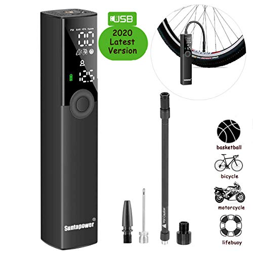 Portable Air Compressor, Air Inflator Handheld Tire Pump with Digital LCD LED Light, Digital Air Pump for Bicycles, Motorcycles, Sports Ball and Other Inflatables