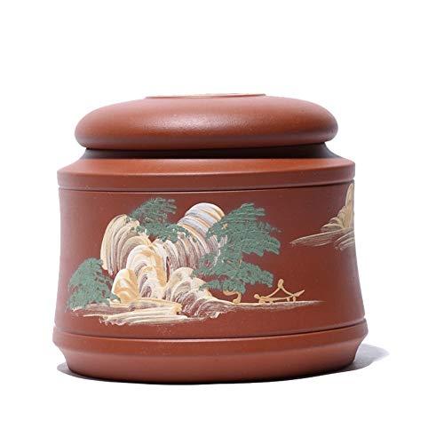 TongN Sugar Bowls Clear Cement Small Purple Sand Tea Pot Hand-painted Landscape Storage Tank Sealed Tea Pot