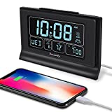 DreamSky Digital Alarm Clock with Backup Battery – Auto Set Alarm Clock with USB Port for Bedroom Bedsides, 6 Level Dimmer & Auto Dim, Indoor Temperature, Date, Weekday, Auto DST, Snooze, 12/24H