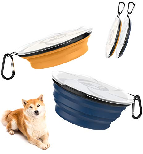 Lewondr Haustier Klappbarer Reisenapf, 2 Pack Silikon Fressnapf Tragbare Haustier Trinknapf Wassernapf Hundeschüssel mit Deckel für Spaziergänge Zwinger Camping Reise - Orange Gelb + Indigo