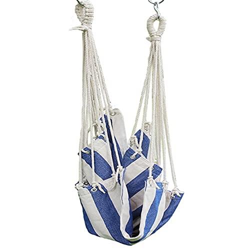 LYLY Hamaca colgante de lona con cuerda de algodón para patio, exterior, interior, jardín, dormitorio, silla colgante (color: azul)