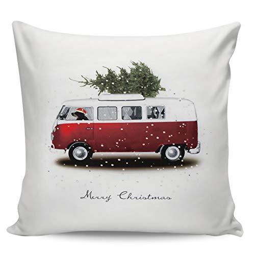 Funda de cojín decorativa de Winter Rangers, para el día de la nieve, el autobús de Navidad y el árbol de Navidad, ultra suave, cómoda funda de cojín cuadrada, para sofá o dormitorio, peluche corto, Navidad3258, 24' x 24'=60 x 60cm
