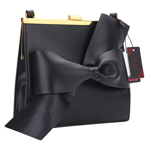 Fawziya Cute Bow Handbags For Women Crossbody Bags-Black
