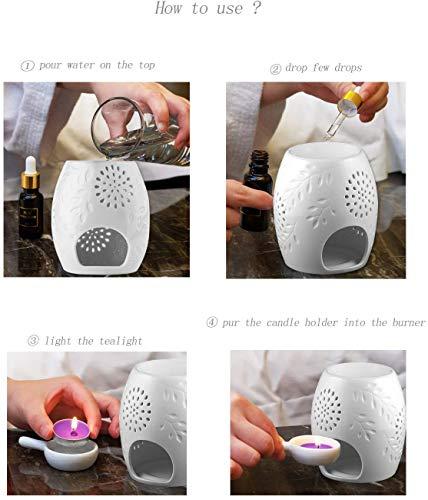 Wuudi Aromatherapie-Lampe,Keramik-Aromatherapie-Lampe, Keramik-Aromatherapie-Lampe mit Kerzenhalter, Dekoration für das Schlafzimmer zu Hause, Weihnachts-Einweihungsgeschenk, weiß (1pcs)