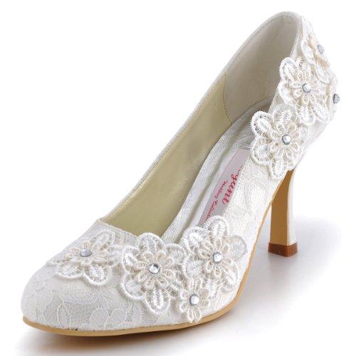 Elegantpark EP11099 Ferme Fleurs Dentelle Aiguille Talon Haut Pumps Femme Escarpins Chaussures de Mariage Mariee Soiree Ivoire 38