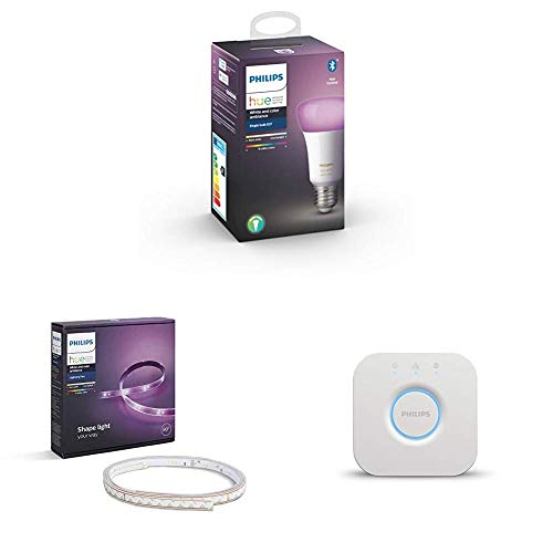 Philips Ambiance Pack Experience - Lightstrip Plus, tira LED de 2 metros con enchufe, E27, puente incluido (Compatible con Bluetooth, Amazon Alexa, Apple HomeKit y Google Assistant)