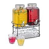 Relaxdays Getränkespender im 2er Set, Wasserspender mit Ständer, 6 Trinkgläser, 4 Liter Glas mit Zapfhahn, transparent