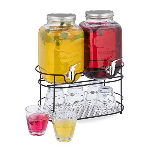 Relaxdays 10030945 Bebidas (2 Unidades, dispensador de Agua con Soporte, 6 Vasos, 4 litros de Cristal con Grifo), Transparente, vidrio