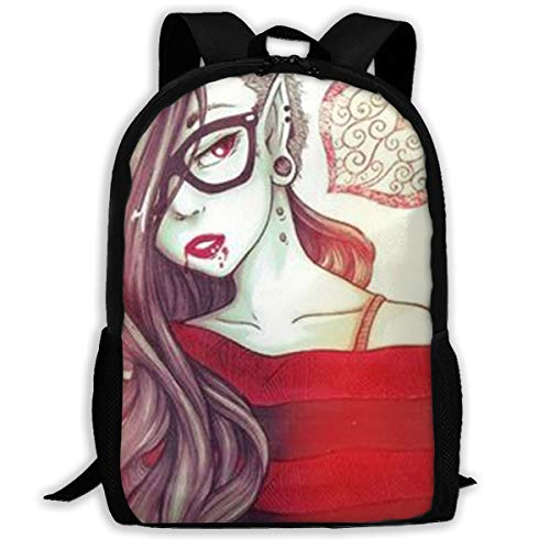 SARA NELL Unisex Adult School Backpack Goth Gothic Girl Love Red Clothing Bookbag Casual Travel Bag