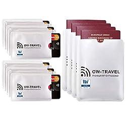 Bloqueo RFID - ANTI FRAUDE - Protectores para Tarjetas de Crédito Débito Sanitaria Identificaciones - Protector Pasaporte - Protección 100% de RFID & NFC (Fundas para Tarjeta de Crédito 10+4)