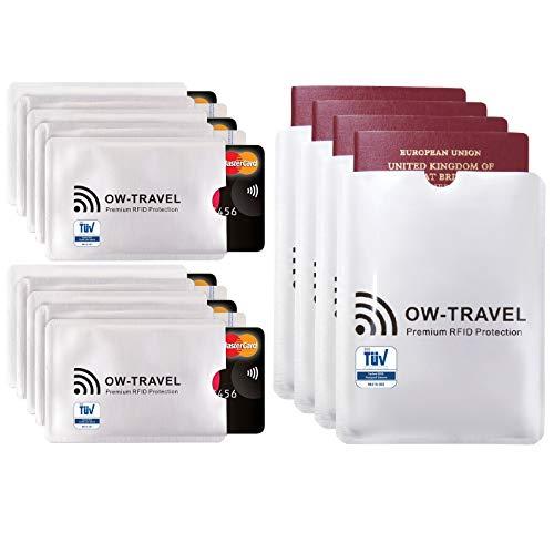 Bloqueo RFID - ANTI FRAUDE - Protectores para Tarjetas de Crédito Débito Sanitaria Identificaciones - Protector Pasaporte - Protección 100% de RFID & NFC (Fundas para Tarjeta de Crédito)