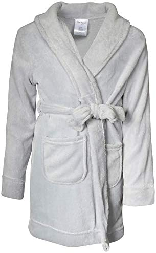 bebe Girls Ultra Soft Plush Robe with Pockets Silver Grey Size 7 8 product image