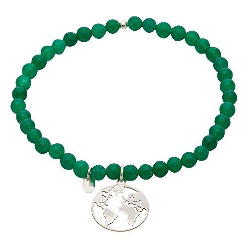 Córdoba Jewels | Pulsera en Plata de Ley 925 con Piedra semipreciosa con diseño Mapamundi Esmeralda Silver