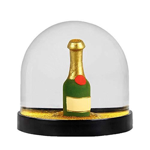 Witzige Schüttelkugel Schneekugel hochwertig mit Champagne Flasche & Glitter in Gold, 8 x Ø 8.5 cm