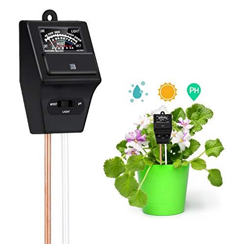 Probador de Suelo, 3 en 1 Plantas pH Humedad Luz Medidor Monitor de Agua del Suelo para Planta Jardín Granjas Césped(No Necesita batería)