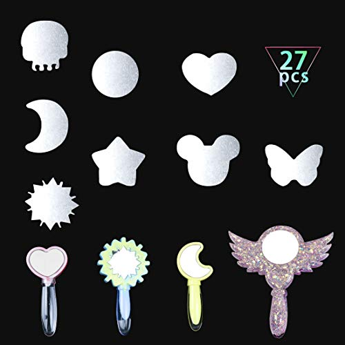 FineInno 27Pcs Small Frameless Mirror Acrylic Mirror Heart Handheld Mirror Filling Materials Resin Craft Making Supplies Butterfly Mirror Magic Wand