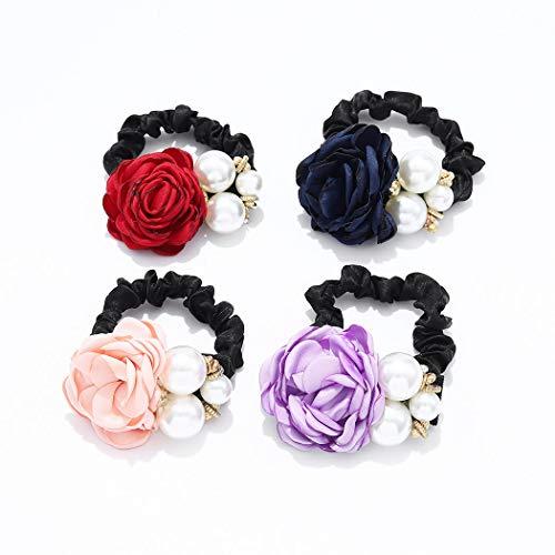 Yean Haarseil Blume Scrunchies Perlen Haargummis Rot Haarschmuck für Frauen und Mädchen 4 Stück (C)