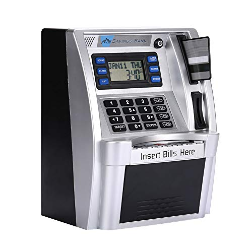 Hourongw ATM Piggy Bank ATM Saving Banks utomatic Gas Money Bank with LCD Display Silver Automatic Money Dispenser for Kids Creative