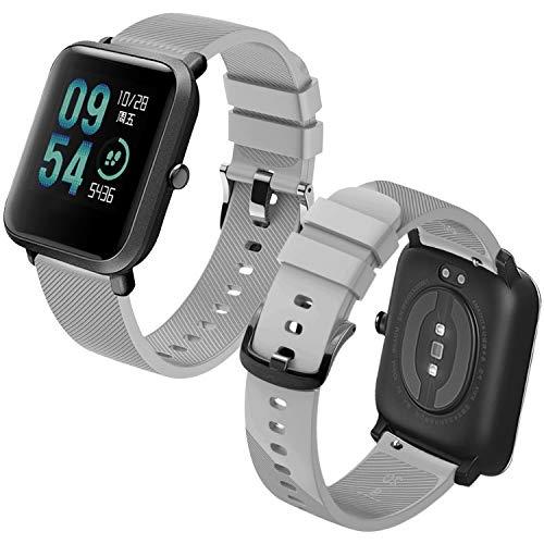 Th-some Correa para Amazfit Bip Impermeable Universal - Reemplazo de Pulsera Ajustable para Xiaomi Huami Amazfit Bip bit Lite Youth/Amazfit GTR 42mm Watch, Gris Sin Tracker