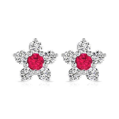 Rosec Jewels 10 quilates oro blanco redonda Round Brilliant Red Moissanite Rubí, relleno de vidrio