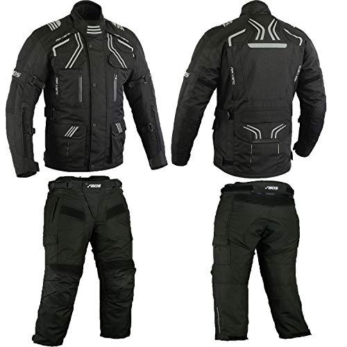 Herren Kombi Motorradbekleidung Biker Anzug Zweiteiler Motorradkombi Schwarz (M)