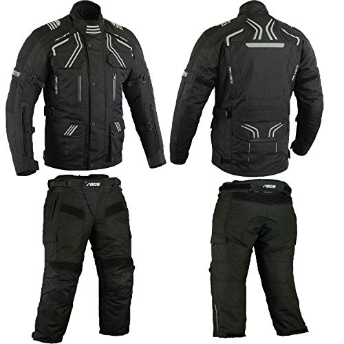 Herren Kombi Motorradbekleidung Biker Anzug Zweiteiler Motorradkombi Schwarz (XXXXXL)