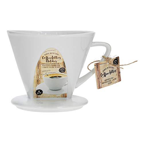 MamboCat Kaffeefilter No. 4 aus Porzellan | 16 x 14 x 11 cm | weiß | SoftBrew-Verfahren | schonende Kaffee-Zubereitung | manuelles Filter-Gerät